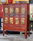 Product ID : 6800 - Category : Wardrobe - Product Name : Antique Chinese Red Lacquer 4 Doors Wardrobe with Painting and Gold Wood Carving