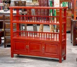 Product ID : 6536 - Category : Shelf - Product Name : Red Lacquer Book Shelf with 3 Door