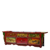 Product ID : 6844 - Category : TV Cabinet - Product Name : Vintage Chinese Lacquer Painted TV Cabinet with 6 Drawer