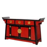 Product ID : 6002 - Category : Sideboard-Long - Product Name : Chinese Style Black Red Lacquer Altar Cabinet 3 Drawer 2 Door