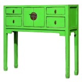 Product ID : 6996 - Category : Console Table - Product Name : Chinese Style Green Lacquer Painted Small Console Table