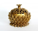 Product ID : 6721 - Category : Other Decor - Product Name : Brass Incense Burner Bowl with Lotus Decoration 黃銅蓮紋香爐