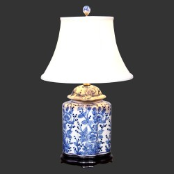 Product ID : 6927 - Category : Lighting - Product Name : Blue and White Ceramic Table Lamp with Peony Flower Pattern
