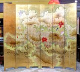 Product ID : 6790 - Category : Screen - Product Name : Gold Background Lotus and Birds Painted Folding Screen 6 Panels