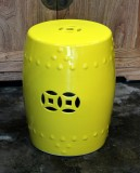 Product ID : 6383 - Category : Chair - Product Name : Yellow Glaze Chinese Double Coin Symbol Drum Style Ceramic Stool