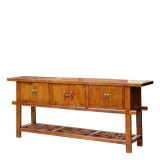 Product ID : 6765 - Category : Sideboard - Product Name : Elm Wood Long Cabinet with Grillwork Panel 6 Doors