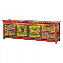 Product ID : 6839 - Category : TV Cabinet - Product Name : Tibetan Style Lacquer Painted TV Cabinet with 4 Drawer and 2 Door