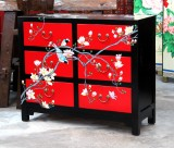 Product ID : 6753 - Category : Sideboard - Product Name : Chinese Black and Red Lacquer Painted Flower and Bird Sideboard with 6 Drawer