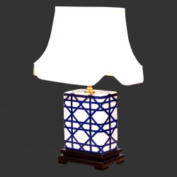 Product ID : 6955 - Category : Lighting - Product Name : Blue and White Ceramic Table Lamp with Star Pattern