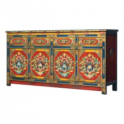 Product ID : 7084 - Category : Long Sideboard - Product Name : Tibetan Style Lacquer Painted Long Sideboard with 4 Drawers and 4 Doors