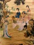 Product ID : 6340 - Category : Painting - Product Name : Vintage Chinese Original Water Ink Hand Painting Scroll The Lady