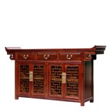 Product ID : 6999 - Category : Long Sideboard - Product Name : Chinese Altar Style Sideboard with Lattice Pattern Doors