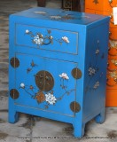 Product ID : 6157 - Category : Bedside Table - Product Name : Deep Blue Leather Wrapped Bedside Cabinet