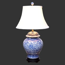 Product ID : 6928 - Category : Lighting - Product Name : Blue and White Ceramic Table Lamp with Lotus Pattern