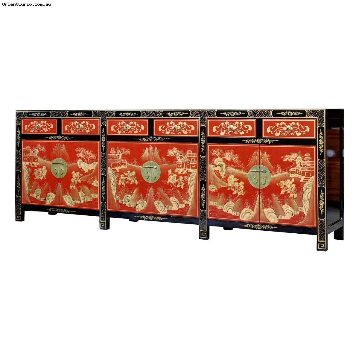 Picture of: Black And Red Lacquer Gold Painted Long Buffet Sideboard 6 Drawer 6 Door Orient Curio Asian Furniture Home Decor Melbourne