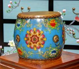 Product ID : 6836 - Category : Other Decor - Product Name : Wooden Double Side Leather Drum with Blue Lacquer and Tibetan Flower Pattern