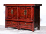 Product ID : 7024 - Category : Long Sideboard - Product Name : Antique Chinese Red Lacquer Painted Sideboard with 4 Doors