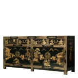 Product ID : 6599 - Category : Sideboard-Long - Product Name : Chinese Style Black Lacquer Gold Painted Sideboard 4 Drawer 4 Door