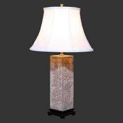 Product ID : 6944 - Category : Lighting - Product Name : Solid Stone Table Lamp with Lotus Pattern