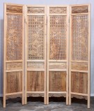 Product ID : 7059 - Category : Screen - Product Name : Double Sided Wood Carved Folding Screen Room Divider with 4 Seasons Flowers and Birds Pattern