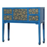 Product ID : 7103 - Category : Console Table - Product Name : Blue Lacquer Console Table with Gold Pattern