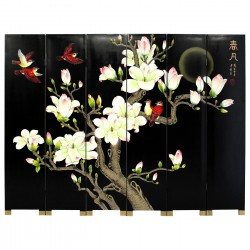 Product ID : 6232 - Category : Screen - Product Name : Black Background Flower and Bird Hand Painted Room Divider Screen