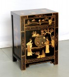 Product ID : 6511 - Category : Bedside Table - Product Name : Chinese Style Black Lacquer Gold Painted Bedside Cabinet