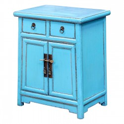 Product ID : 6665 - Category : Bedside Table - Product Name : Wooden Blue Lacquered Bedside Cabinet 2 Drawer 2 Door
