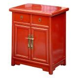 Product ID : 6653 - Category : Small Cabinet - Product Name : Wooden Red Lacquered Bedside Cabinet 2 Drawer 2 Door