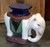 Product ID : 6170 - Category : Chair - Product Name : Ceramic White Elephant Garden Stool or Pot Stand