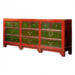 Product ID : 6709 - Category : Long Sideboard - Product Name : Red and Green Lacquer Vintage Chinese Long Sideboard with 12 Drawer