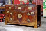Product ID : 6811 - Category : Sideboard - Product Name : Antique Chinese Elm Wood Sideboard with 3 Drawers and 2 Doors