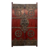 Product ID : 6240 - Category : Wall Decor - Product Name : Vintage Chinese Door with Bronze Metal Decor
