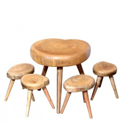 Product ID : 7056 - Category : Coffee Table - Product Name : Acacia Wood 3 Legs Mushroom Style Table and Chairs