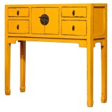 Product ID : 6972 - Category : Console Table - Product Name : Chinese Style Yellow Lacquer Painted Small Console Table