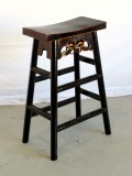 Product ID : 6444 - Category : Chair - Product Name : Black Lacquer Painted Wooden Bar Stool with Butterfly Carving