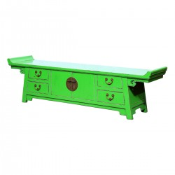 Product ID : 6987 - Category : TV Cabinet - Product Name : Chinese Altar Style Green Lacquer Painted TV Cabinet with 4 Drawers and 2 Doors