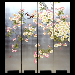 Product ID : 7012 - Category : Screen - Product Name : Hand Painted Four Panel Folding Screen with Pear Blossom and Birds on Silver Leaf Background