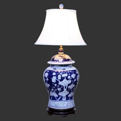 Product ID : 6936 - Category : Lighting - Product Name : Hand Painted Blue and White Table Lamp with White Cherry Blossom Pattern