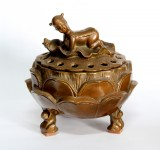 Product ID : 6719 - Category : Other Decor - Product Name : Brass Incense Burner with Children on Lotus 黃銅蓮紋嬰戲香爐