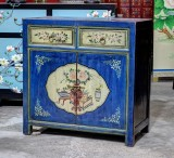 Product ID : 6801 - Category : Sideboard - Product Name : Chinese Blue and Yellow Lacquer Painted Side Cabinet 2 Drawers 2 Doors