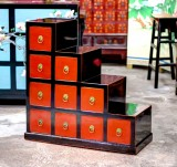 Product ID : 6764 - Category : Side Cabinet - Product Name : Chinese Black and Red Stairs Cabinet with 10 Drawers