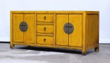Product ID : 6962 - Category : TV Cabinet - Product Name : Yellow Lacquer Painted Chinese Vintage Style TV Cabinet
