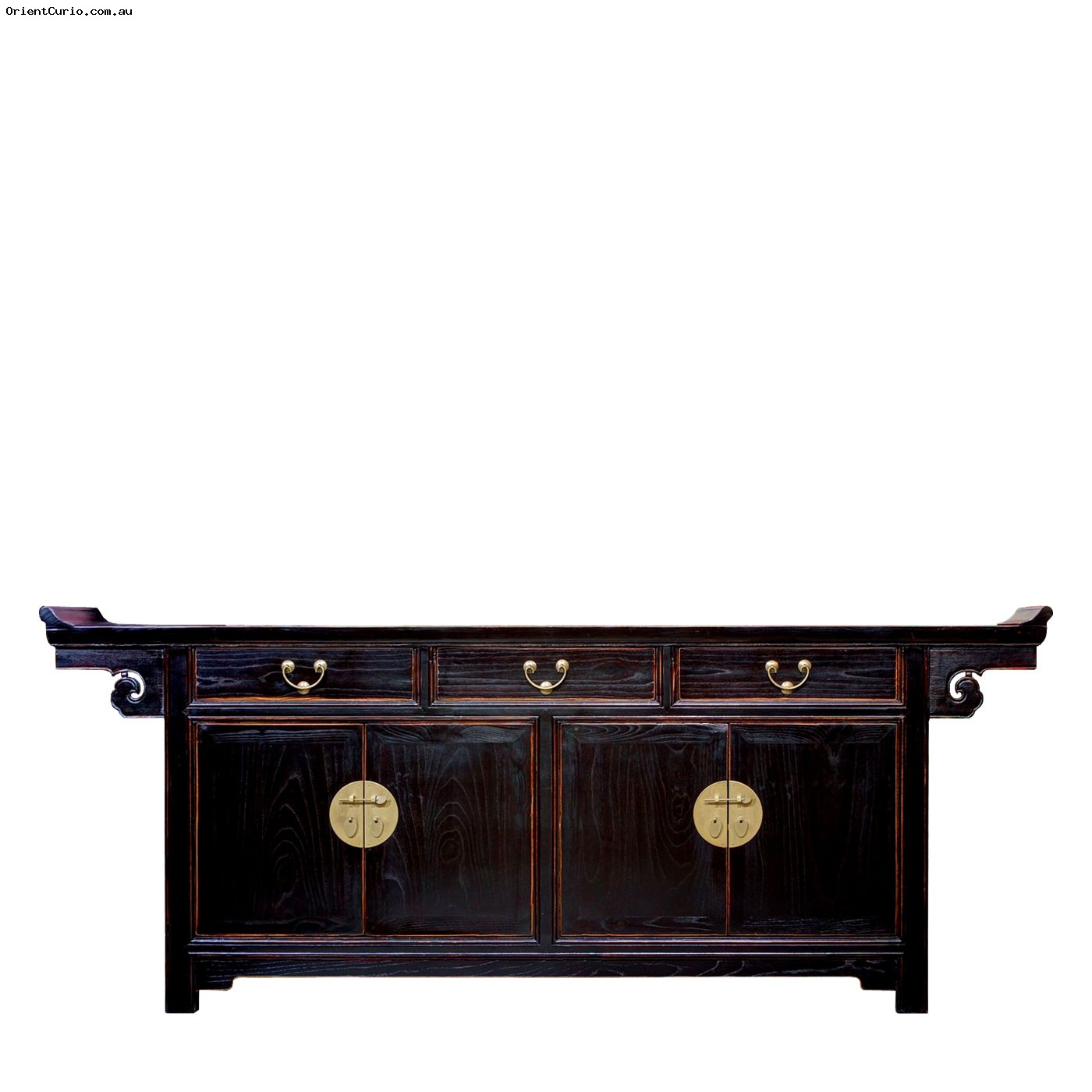 Picture of: Chinese Dark Brown Color Altar Style Long Buffet Sideboard Cabinet 3 Drawer 4 Door Orient Curio Asian Furniture Home Decor Melbourne