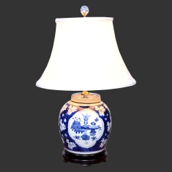 Product ID : 6926 - Category : Lighting - Product Name : Blue and White Ceramic Table Lamp with White Cherry Blossom and Vase Pattern