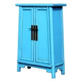 Product ID : 7002 - Category : Small Cabinet - Product Name : Aqua Blue Lacquer Side Cabinet with 2 Doors