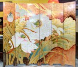 Product ID : 6791 - Category : Screen - Product Name : Gold Background Lotus Lacquer Painted Folding Screen 6 Panels