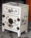 Product ID : 6159 - Category : Bedside Table - Product Name : White Leather Wrapped Bedside Cabinet