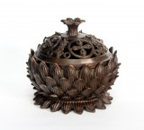 Product ID : 6720 - Category : Other Decor - Product Name : Brass Incense Burner Bowl with Lotus Decoration 紫銅蓮紋香爐