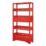 Product ID : 6589 - Category : Shelf - Product Name : Red Lacquer Bookshelf with 4 Drawer